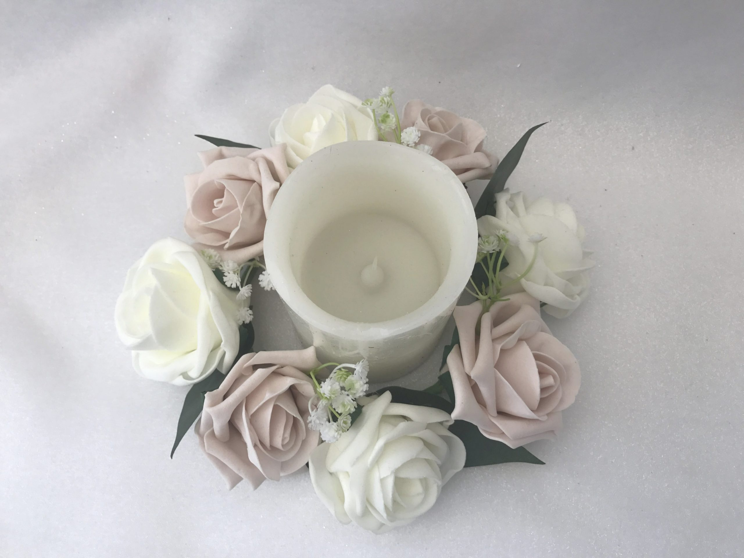 Artificial Wedding Flowers Table Decoration Candle Ring Gypsophila with regard to Candle Decoration With Flowers