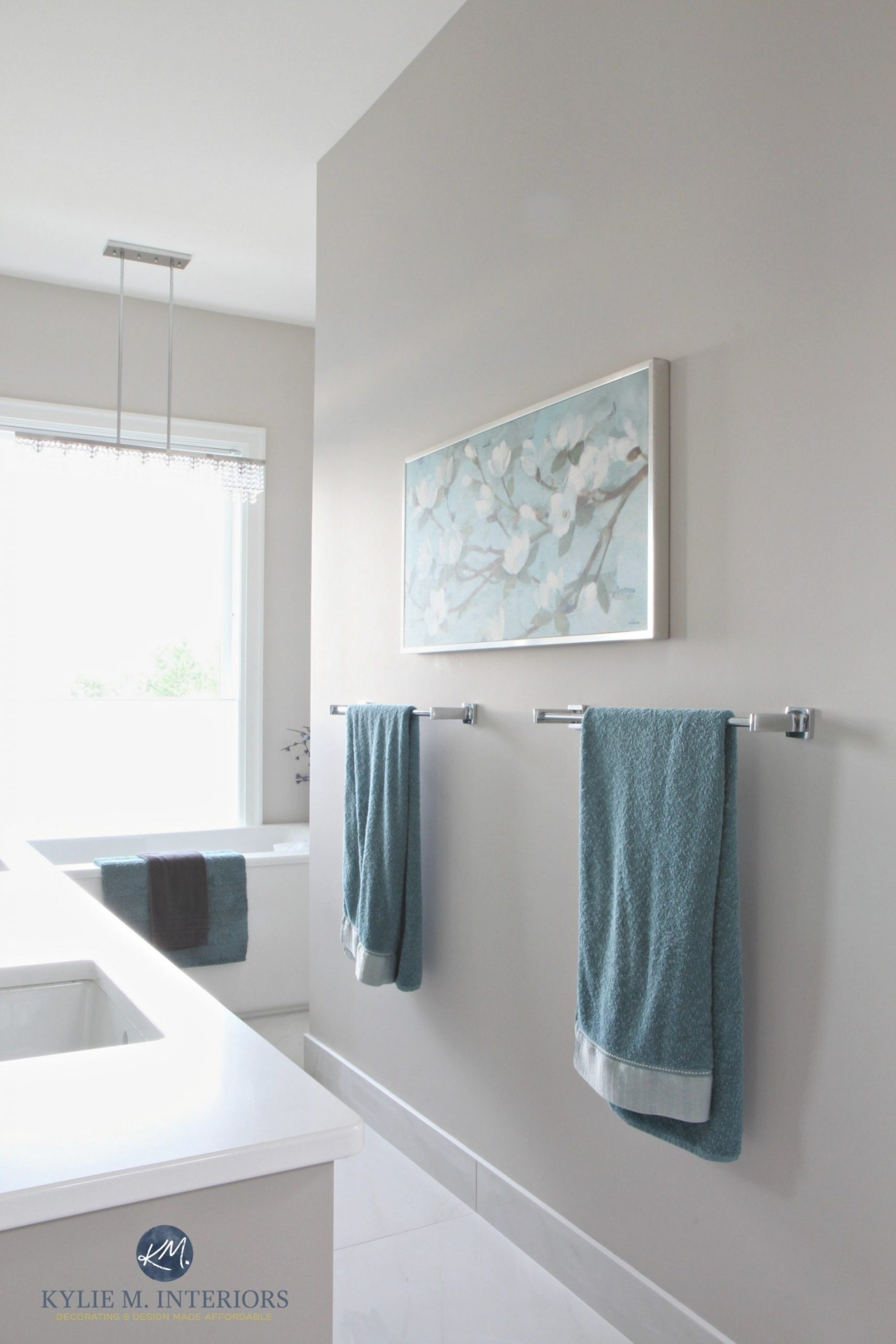Bathroom-With-Marble-Floor-Teal-Accents-Freestanding-Tub throughout Balboa Mist Benjamin Moore
