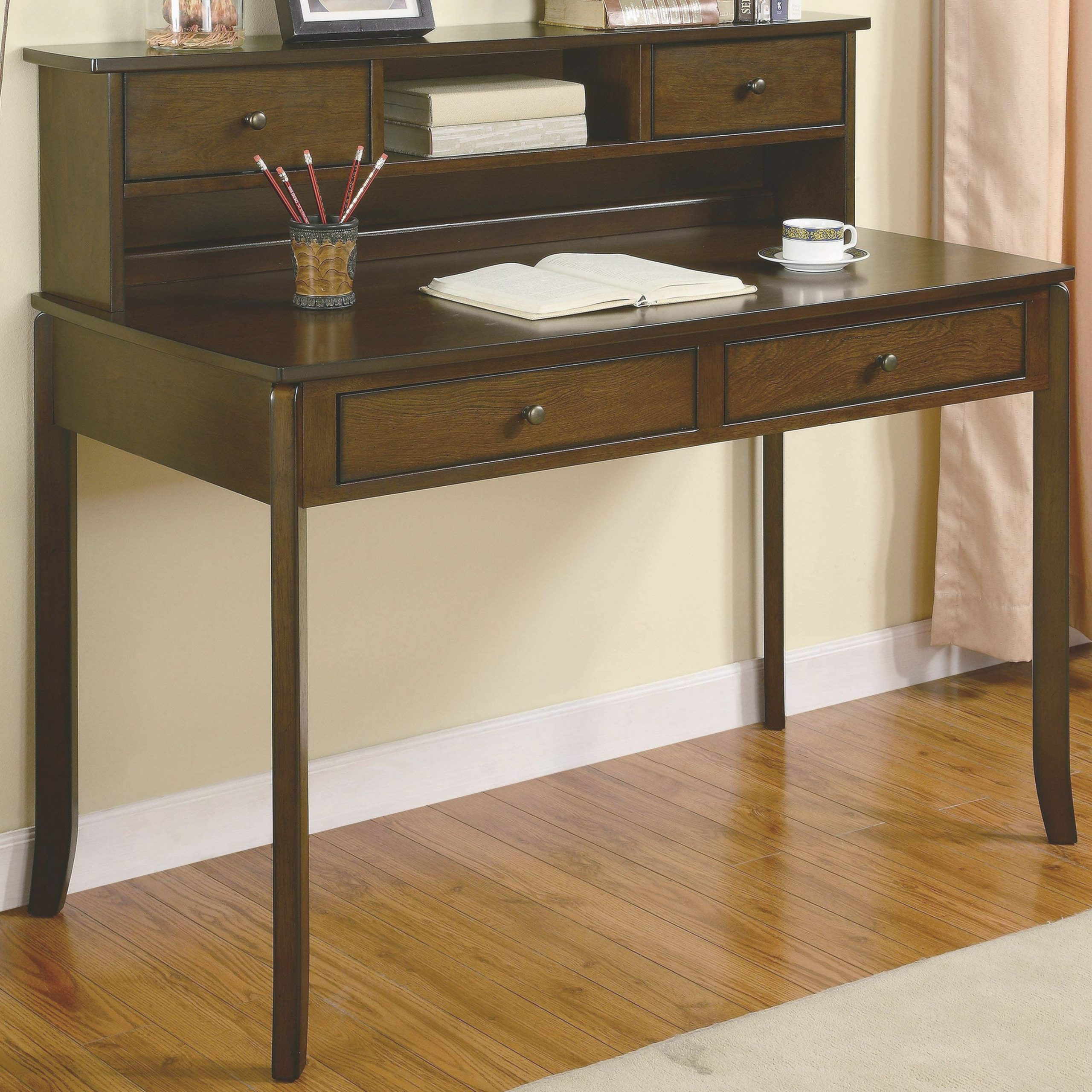 Desks Classic Writing Desk With Small Storage Hutch intended for Writing Desk With Hutch