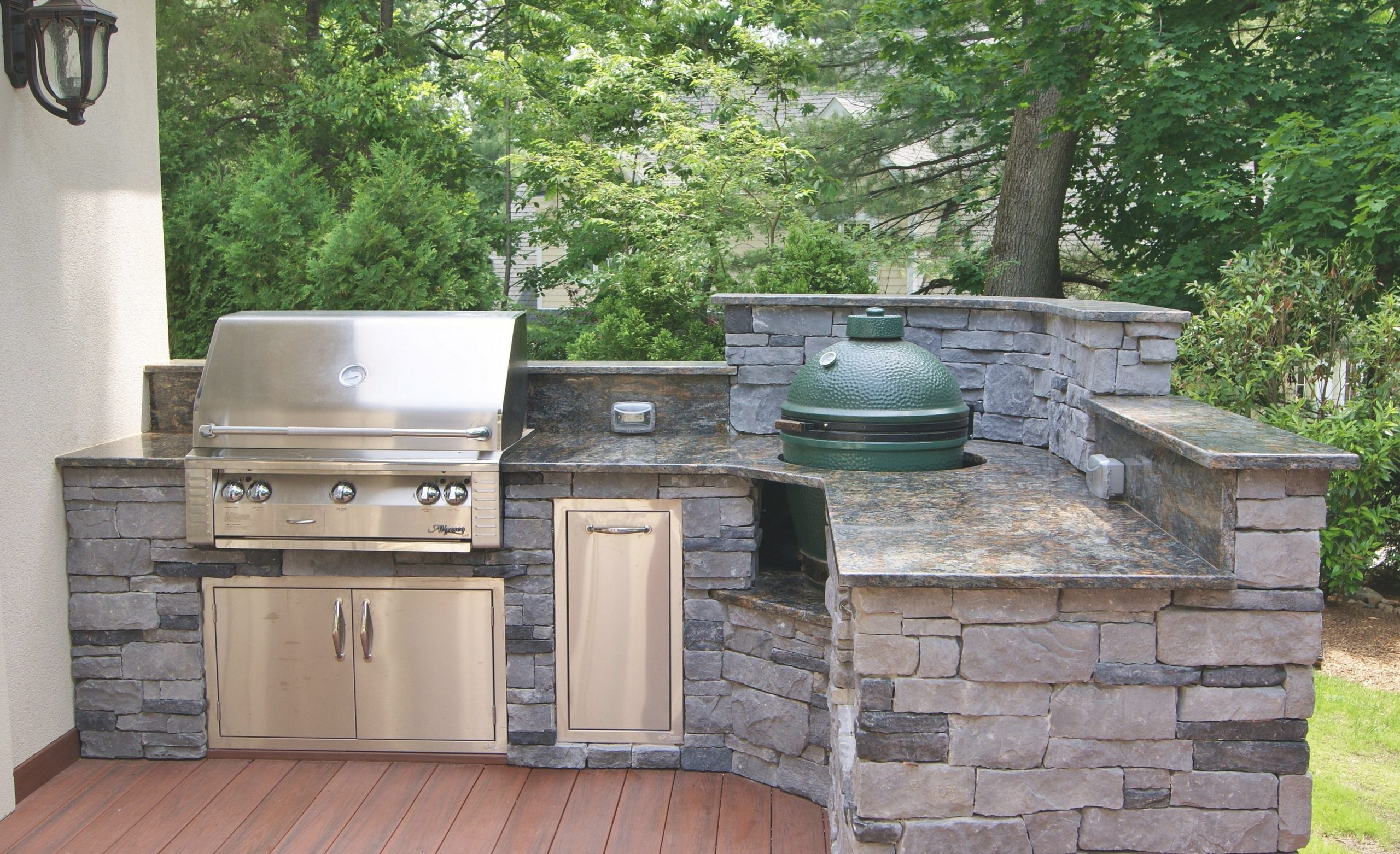 Dsc03585-Franklin-Lakes-Nj-Custom-Stone-Kitchen-With-Viking intended for Big Green Egg Outdoor Kitchen
