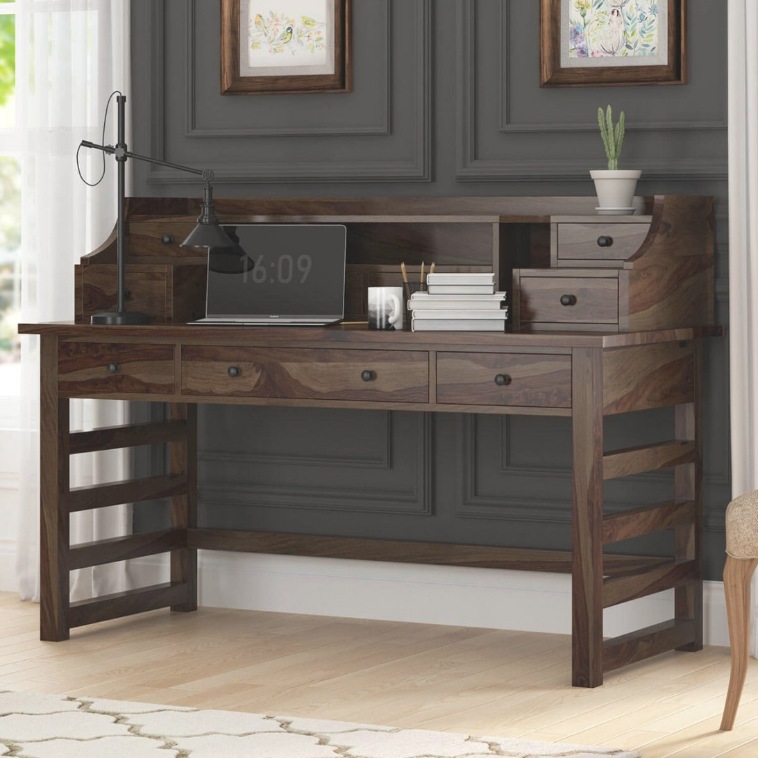 Everglades Rustic Solid Wood Secretary Writing Desk With Hutch regarding Writing Desk With Hutch