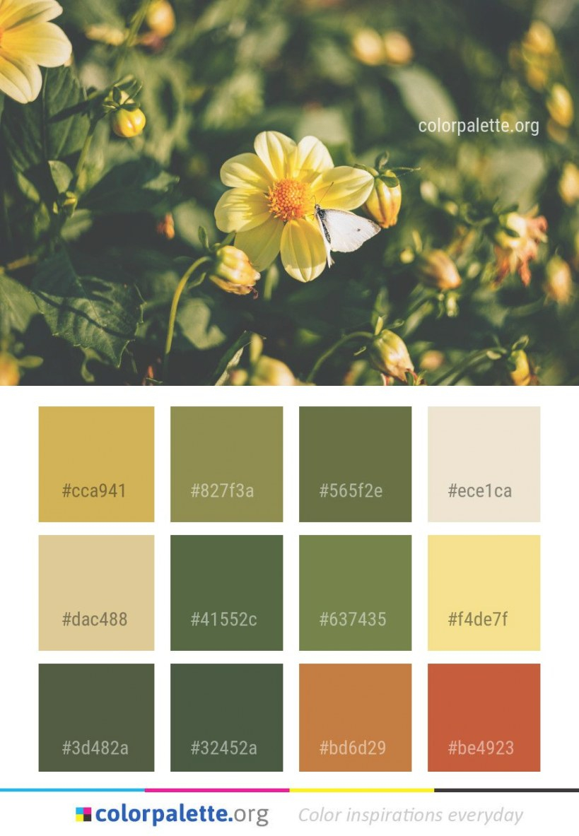 Flower Flora Yellow Color Palette #colors #inspiration pertaining to Inspirational Color Palette Green