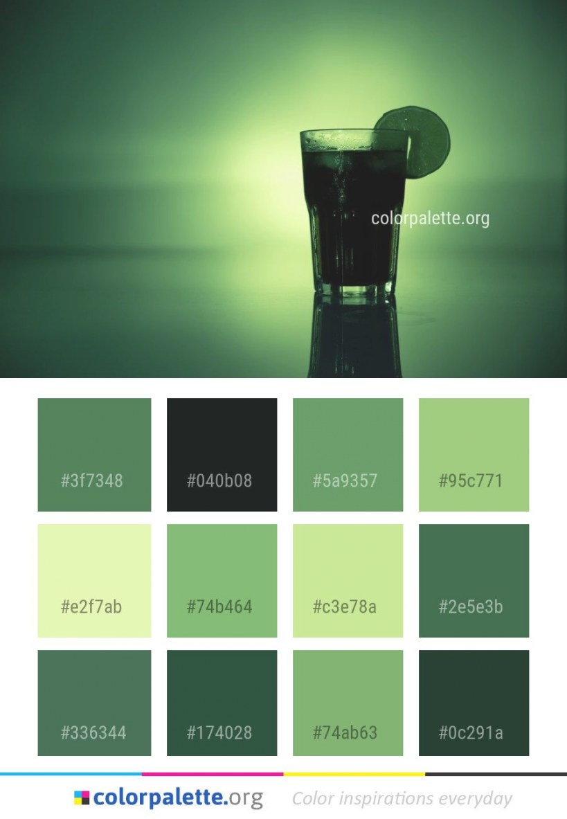 Green Bottle Glass Color Palette #colors #inspiration within Inspirational Color Palette Green