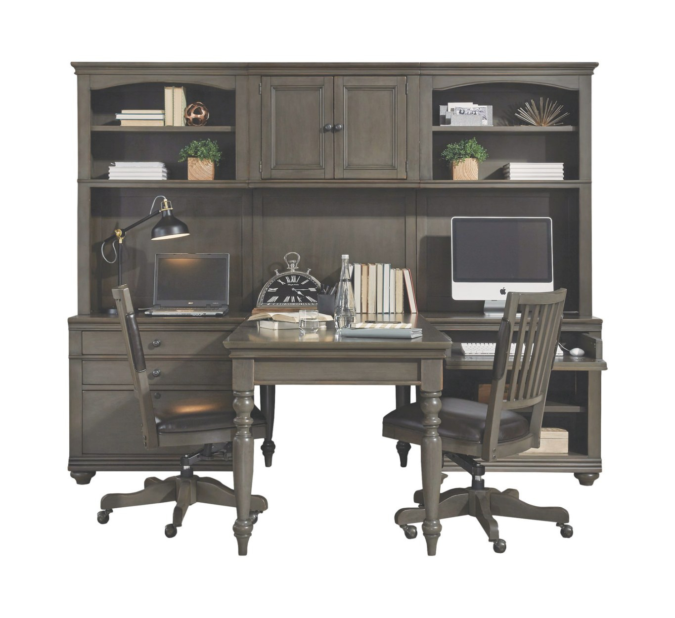 James 3 Bay Wall With Peninsula Writing Desk throughout Writing Desk With Hutch
