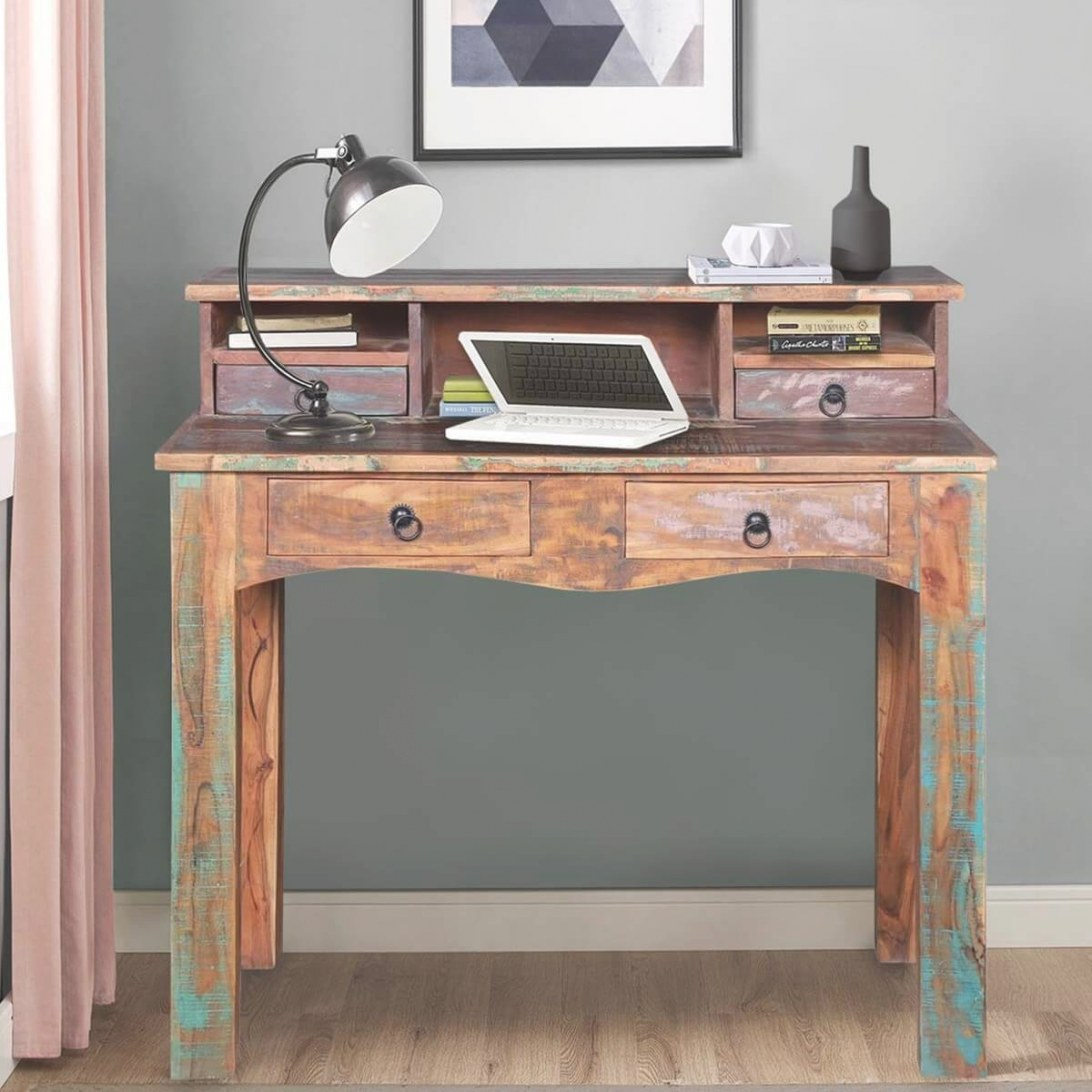 Lawtey Rustic Reclaimed Wood 4 Drawer Desk With Hutch pertaining to Writing Desk With Hutch