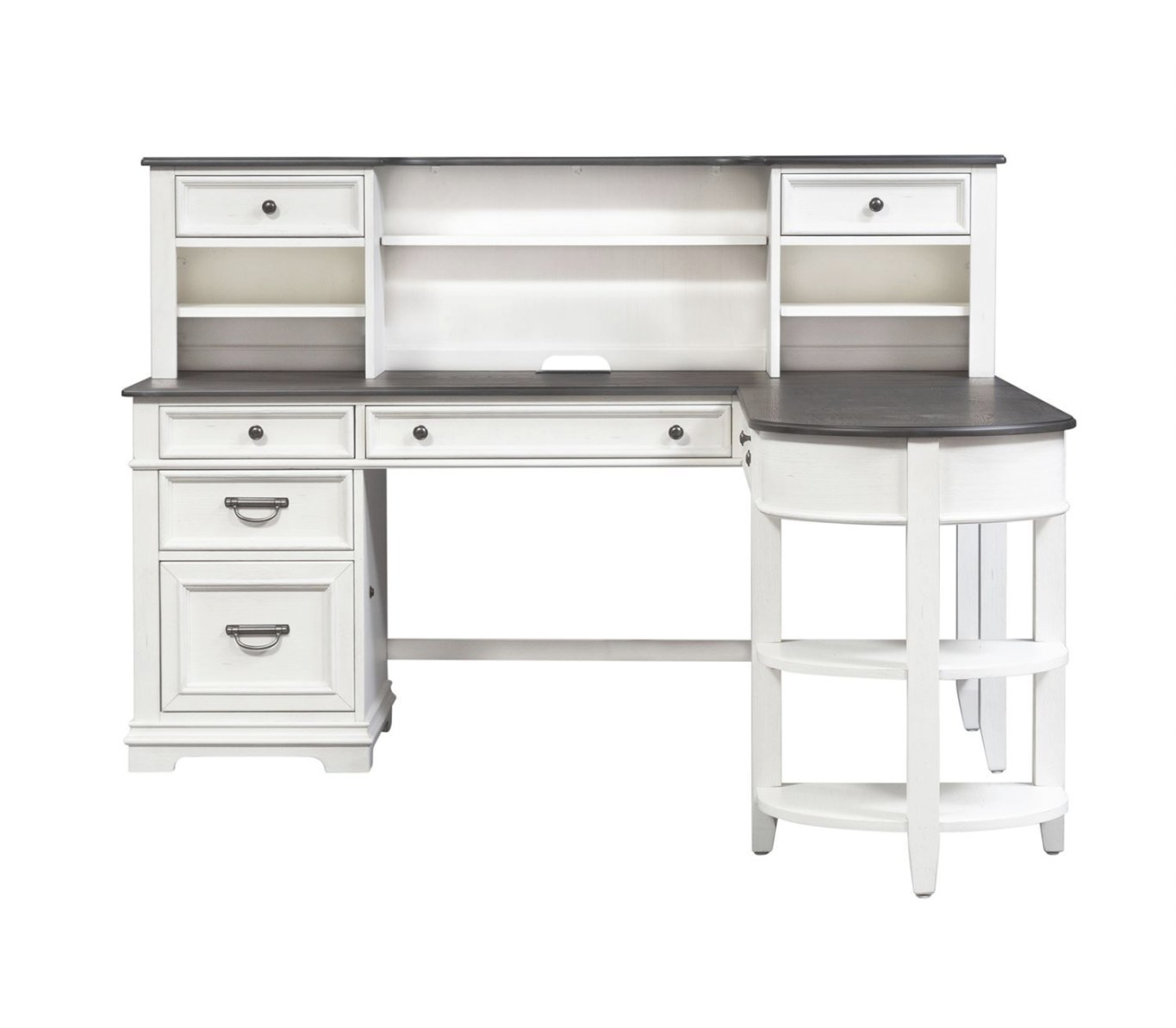 Liberty Furniture Allyson Park L Writing Desk Return With Hutch In  Wirebrushed White throughout Writing Desk With Hutch