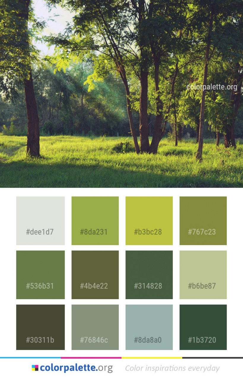 Nature Grassland Green Color Palette #colors #inspiration regarding Inspirational Color Palette Green