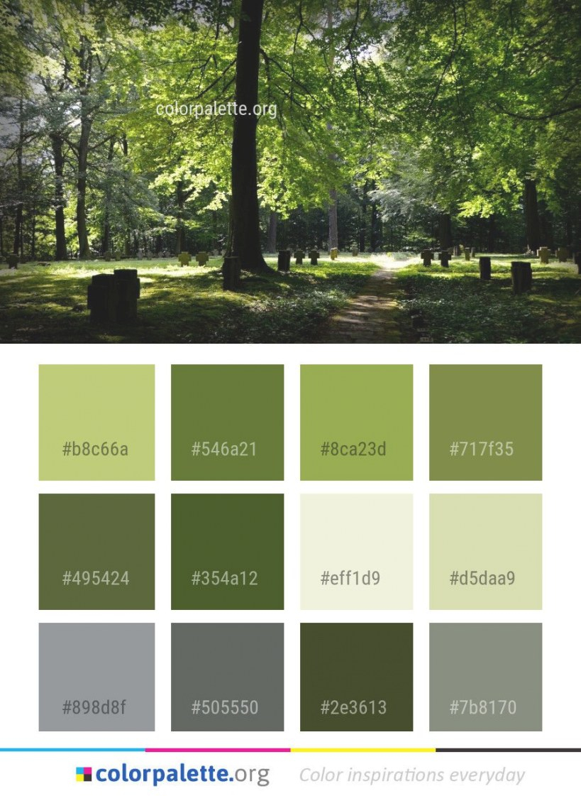 Nature Green Tree Color Palette #colors #inspiration inside Inspirational Color Palette Green