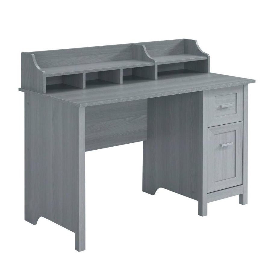 Techni Mobili 48 In. Rectangular Gray 2 Drawer Writing Desk With  Hutch-Rta-8411-Gry - The Home Depot regarding Writing Desk With Hutch