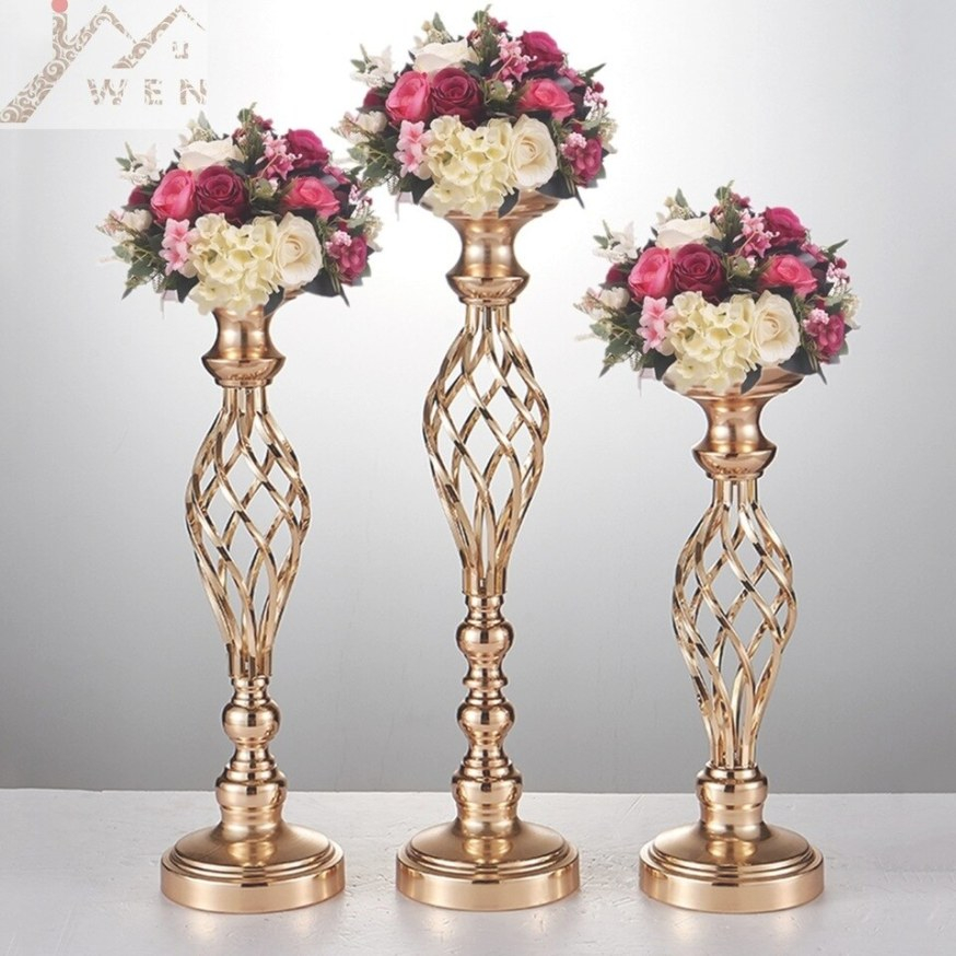 Us $141.49 50% Off|10Pcs Gold Flower Vases Candle Holders Rack Stands  Wedding Decoration Road Lead Table Centerpiece Pillar Party Event pertaining to Candle Decoration With Flowers