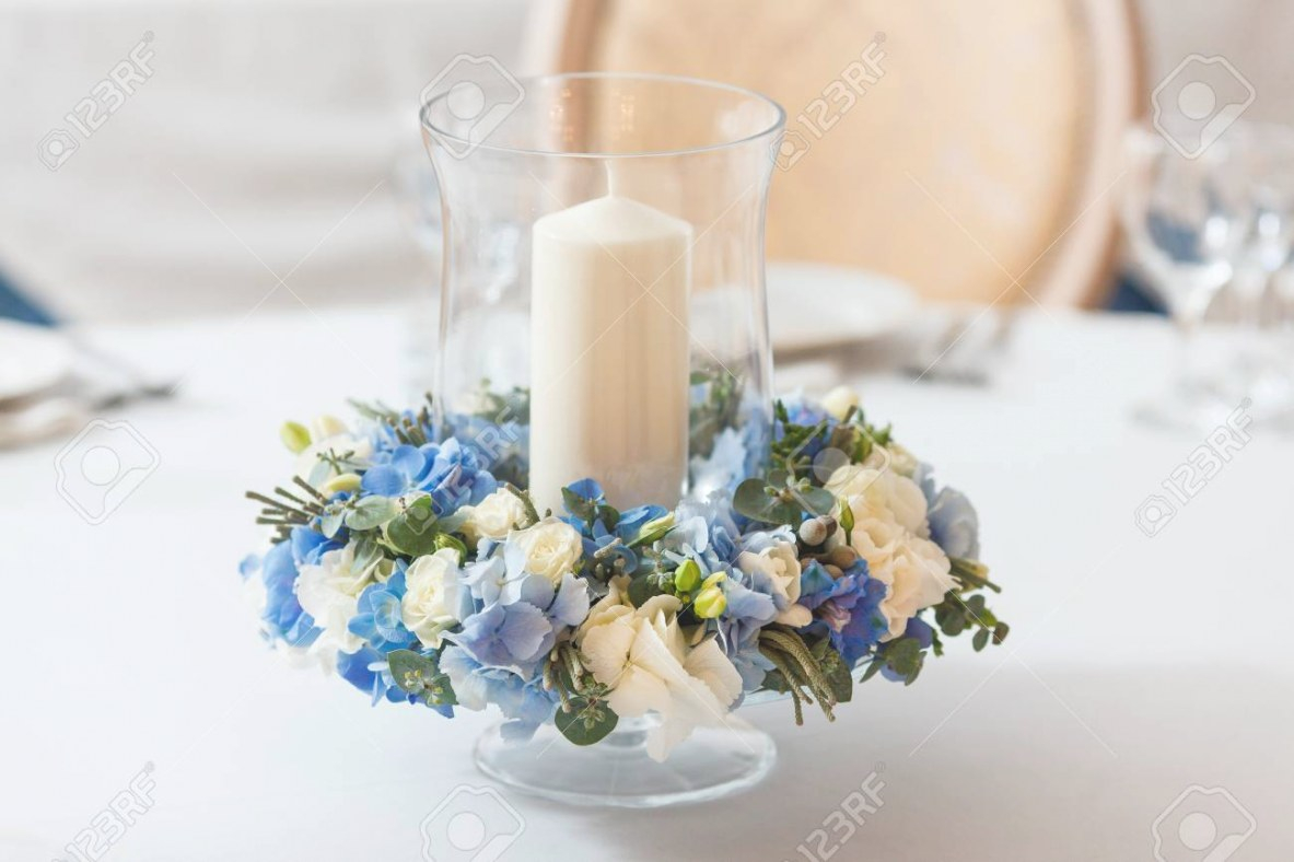 White Table Candle Blue Flowers Arrangement Decoration Interior inside Candle Decoration With Flowers